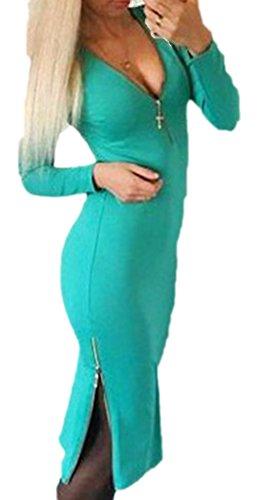 erdbeerloft - Damen Knielanges Kleid Casual mit V-Ausschnitt, 34-42, Viele Farben Türkis