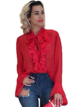 YiLianDa Mujeres Bluas Con Manga Larga Camisa Blouses T Shirt Tunica OL Sólido Color