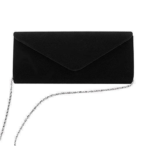 Clorislove Damen Samt Clutch Tasche Hochzeit Handtasche Abendtasche (Schwarz)