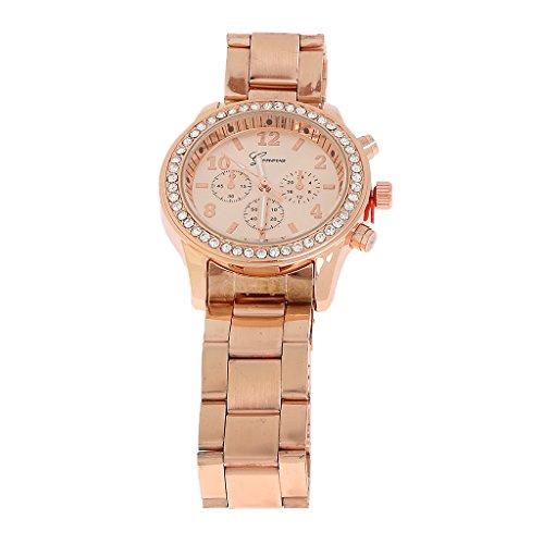 La Moda Mujeres De La Senora De La Muchacha Reloj De Acero Unisex De Pulsera De Cuarzo De Acero De Oro Rosa