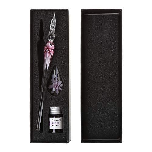 Junlinto Vintage handgemachte Kunst Elegante Kristall Floral Glas Dip Pen Zeichen Kugelschreiber Geschenk-PINK Floral Dip