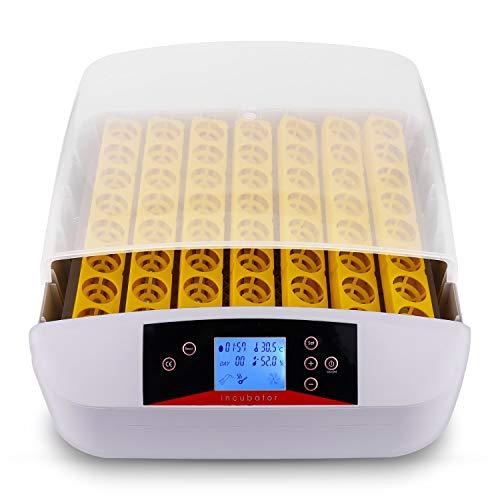 Nakey Incubatrice Automatica di Uova, Incubatore Intelligente Digitale con Schermo a LED di Temperatura e Sensore di Temperatura Preciso (56 Uova)