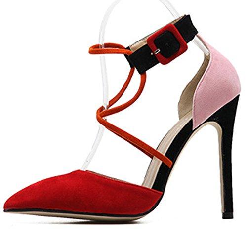 Red Spitz High Oasap Oasap Club Pumps Damen Stiletto Spitz Damen Veloursleder High Stiletto wABxnq76UC