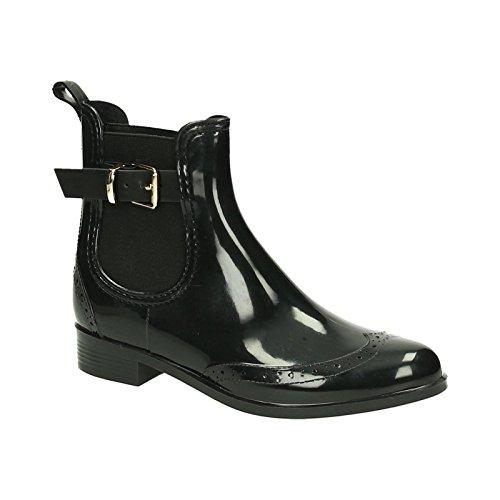 Damen Stiefeletten _ Gummistiefel Regen Schuh _ Chelsea Boots Lack _ Kurzschaft Gummistiefelette _ Komfort Blockabsatz _ BABLO6 (37)