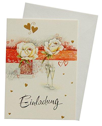 5 Einladungskarten Klappkarten Hochzeit mit Innentext 91-9309
