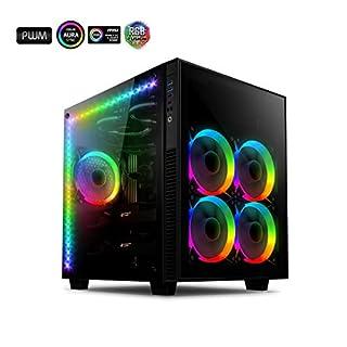 anidees AI Crystal Cube AR V3 EATX/ATX-PC-Gaming-Gehäuse mit Zwei Kammern aus gehärtetem Glas mit 5 RGB-PWM-Lüftern / 2 LED-Streifen - Schwarz AI-CL-Cube-AR3