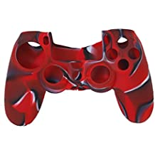 Imported Camo Silicone Protective Skin Case Cover for Sony PlayStation 4 PS4 Controller - Red with Black