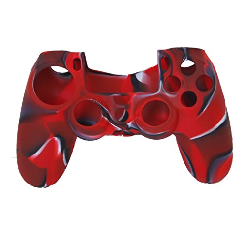 Imported Camo Silicone Protective Skin Case Cover for Sony PlayStation 4 PS4 Controller - Red with Black  available at amazon for Rs.210