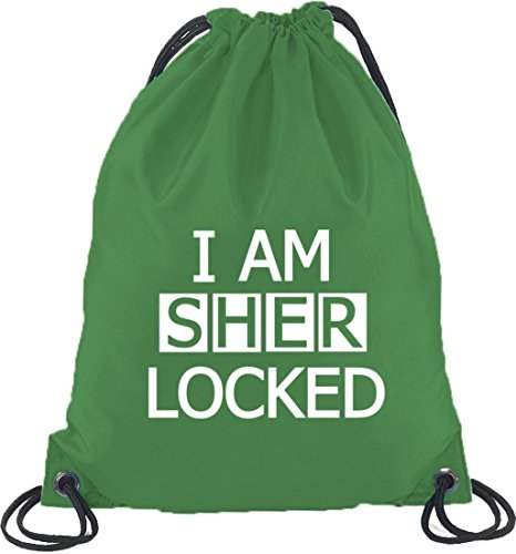 Shirtstreet24, I AM SHER LOCKED, Turnbeutel Rucksack Sport Beutel Kelly Green