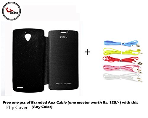 2dots Flip Cover Case for Intex Aqua Star Power With Free Branded Aux Cable One Meter Worth Rs.125 Any of One Color  available at amazon for Rs.105