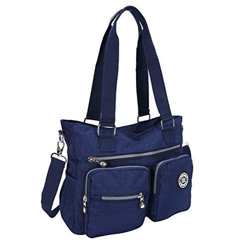 7c3c1395b7ef4 Damen Handtasche Wasserdichte Nylon Messenger Tasche Umhängetasche  Schultertasche Multifunktions Tasche, Schwarz Blau ...