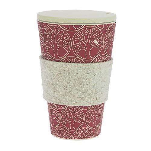 Termo de café hecha de bambú | con tapón de rosca, anilla de fieltro lana auténtica | Taza de café, taza para beber | Biodegradable, y respetuoso con el medio ambiente | Seguro para alimentos, apto para lavavajillas