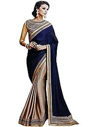 Magneitta Women's Chiffon Silk Saree With Embroidery Work Blouse Piece (93042_Blue&Beige)