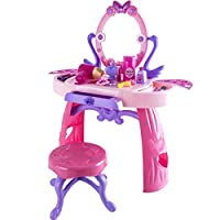 Deluxe Girls Princess Pink Musical Dressing Table Vanity Light Mirror Play Set Toy Glamour Make Up Desk With Stool Includes Accessories Children Kids Pretend Play High Quality Dressing Table Set