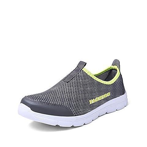 BEFAiR Men's Lightweight Breathable Slip on Anti-slip Casual Shoes(9.5 UK, Dark Gray)