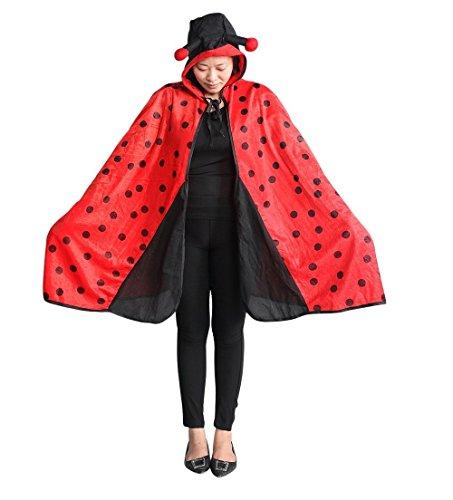 Marienkäfer-Kostüm als Umhang, An82/00, Einheits-Größe für alle Männer und Frauen! Marienkäfer-Kostüme Marien-käfer als Faschings- Karnevals- Fasnachts-Geschenk, Gruppen-Kostüme für Erwachsene
