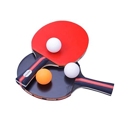 sschläger, Tischtennis Set, 2 Tischtennis-Schläger und 3 Tischtennis-Bälle(Logo von Sportout) ()