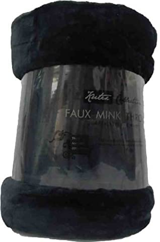 Extra Large Mink Faux Fur Throw 200cm x 240cm Black by Bedding Online