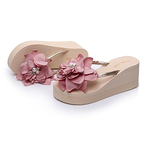 Aelegant Femme Tongs Été Pantoufles Chaussons à Talons Hauts Sandales avec Diamants de Véricle Beige + Fleur