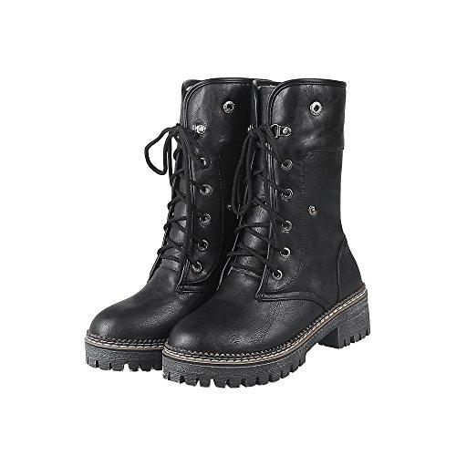 AgeeMi Shoes Donna Bassa Altezza Allacciare Punta Tonda Chiusa Casuale Stivali Nero