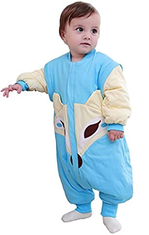 Chilsuessy Baby Ganzjahres Kinderschlafsack mit Füssen 2.5 Tog,Kleinkind Winter Schlafsack mit abnehmbar Ärmel, Blau, L/Koerpergroesse 80-95cm