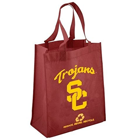NCAA USC Trojans Printed Non-Woven Polypropylene Reusable Grocery Tote Bag, One Size, Red by Forever Collectibles