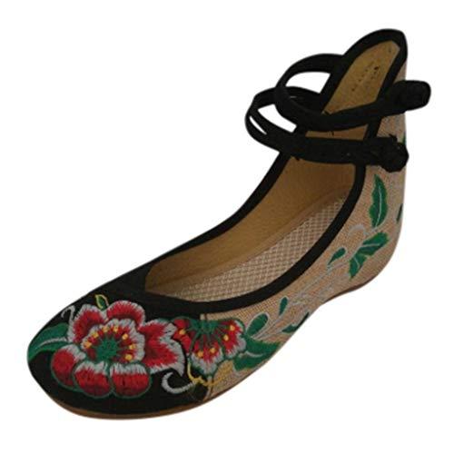 COZOCO Damen Floral Bestickte Schuhe High-top Schnalle Schuhe Erhöhen Segeltuchschuhe Frühling Sommer Freizeitschuhe Für Den Täglichen Verschleiß(A-Schwarz,40 EU)