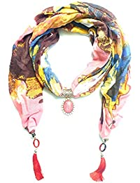 ANNA CREATIONS Designer Printed Pendant Necklace Scarf Hijab Stall Wrap Muffler(Multicolour, Free Size)