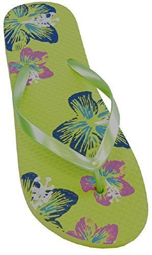 Sandrocks Tongs Caoutchouc Imprimé Papillon et Fleur Modèle Femme Vert