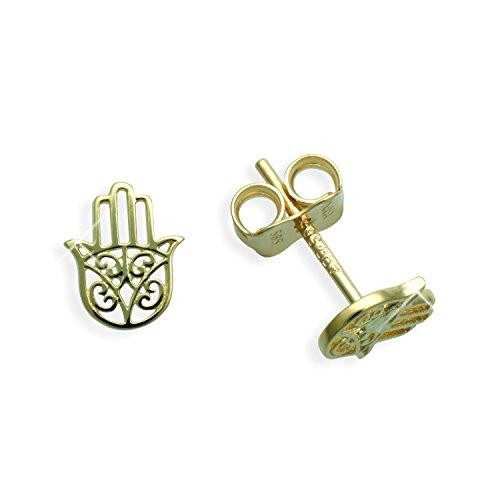 Herren Ohrstecker per Stück echt 14 Karat Gold 585 Hand der Fatima/Hamsa/Khamsa (Art 602037/811033)