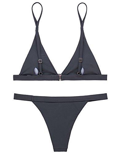 X-HERR Damen Sexy Triangel Top Brasilianisch Boden Bikini Badebekleidung Grau