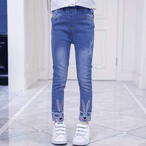 24e574f5c2d8 URMAGIC Pantalon Denim Jean pour Fille Enfant Bébé Casual Long Chaud Souple  3-14 Ans