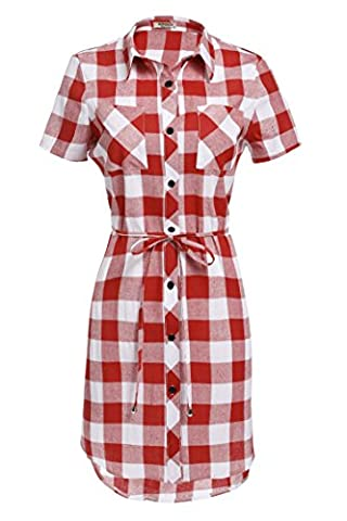 HOTOUCH Ladies Chic Short Sleeve Belted Grid Print Shirt Top