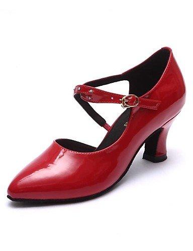 La mode moderne Non Sandales Chaussures de danse pour femmes personnalisables en cuir moderne Talon Noir/Rouge US5.5/EU36/UK3.5/CN35