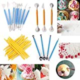 CPEX 16 Different Shapes Modeling for Fondant Gum Paste Sugar Craft and Cake Decoration Clay Modelling Tools Set (Multicolour)