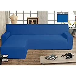 BIANCHERIAWEB Copridivano Genius con Penisola Chaise Longue Modello Swing Colore Blu Sinistra Blu