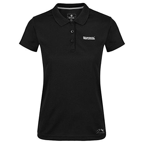 Peerla Damen-Polo-Shirt Regatta Schnelltrocknend mit Feuchtigkeitstransport in Verschiedenen Farben erhältlich. Für Wandern und Freizeit, Lasure. Unser Sondermodell Peerla, Farbe:Schwarz, Größe:42