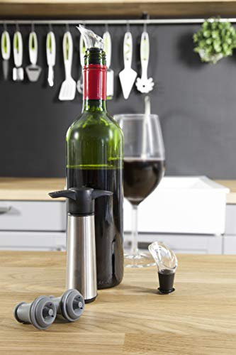 Vacu Vin Weinpumpe mit 2 x Stopfen und 2 x Weinausgießern - Edelstahl