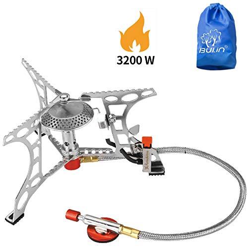 Bulin 3200W Gaskocher mit Piezozündung Faltbarer Gas Campingkocher Gasbrenner für Camping Trekking Picknick Outdoor