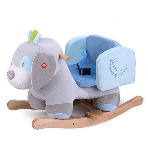 Baby-Schaukelpferd Rocker Für 1-3 Jahre Kleinkind-Mädchen-Junge Aus Holz Indoor-Outdoor-Reitpferd Weiches Plüsch-Kindergarten-Schaukeltier,Grey