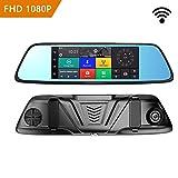 Xwly-Dr Voiture Dash Camera 4G Stream Media Rétroviseur 7 Pouces HD Écran 1080P Double Objectif 170 ° Grand Angle Rétroviseur Arrière Miroir Aide Android 5,1 Bluetooth Connexion WiFi