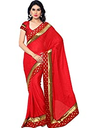 EthnicJunction Designer Women's Crepe Saree With Polka Dot Border And Blouse Piece