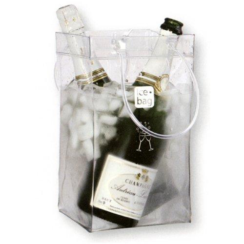 Ice bag Seau a Glace rafraichisseur Sac Pliable Porte 2 Bouteilles - Transparent