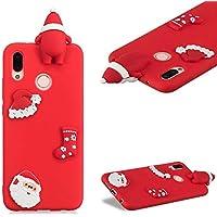 Handyhülle für Huawei P20 Lite,CESTOR Luxus Niedlich [3D Weihnachtsmann Serie] Ultra Dünn Weich Flexibel TPU Silikon Hülle für Huawei P20 Lite,Stoßfest Gummi Schlank Leicht Schutzhülle [mit 360°Drehbarer Ringhalter Fingerhalter] für Huawei P20 Lite,Rot