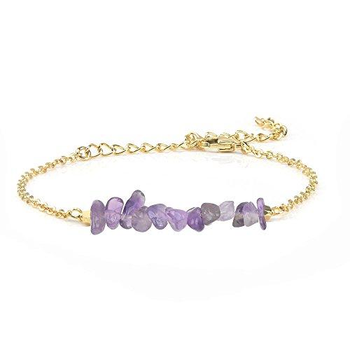 VU100 Heilung Energie Amethyst Edelstein Bar Anhänger Armband natürlichen lila Kristall 18K vergoldet Chakra Schmuck für Frauen Mädchen