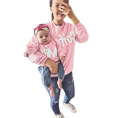 Familie Matching URSING Mutter und kinder Lange Hülse Bluse Tops Brief T-Shirt Outfits Lange Ärmel Sweatershirt O-Ausschnitt Langarm Pullover Top Familienkleidung (80, Rosa/Kinder) (Shirt Pocket Kleid Plaid)