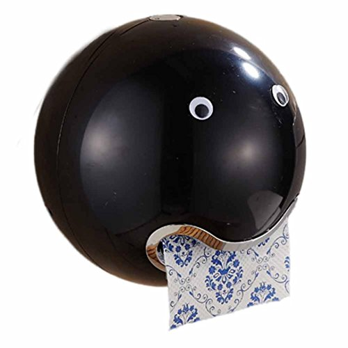 squarex Ball Form Cute Emoji-Bad WC Wasserdicht WC Papier Rolle Papier Halterung, schwarz, Ball Shaped (Rack Record Storage)