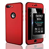 CASYLT iPhone 8 Plus 360 Grad Fullbody Soft-Case Hülle [inkl. 2X Panzerglas] Komplettschutz TPU Handyhülle in Rot