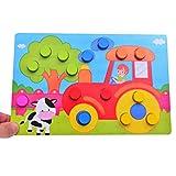 Newin Star Holz Puzzle für Farberkennen, Bunte Pilz Nägel Puzzle Frühe Pädagogische Spielzeug Farbabstimmung Spielzeug für Jungen und Mädchen, Bauernhof