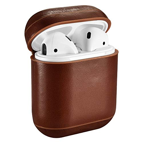 Hamee Apple Airpod Leather Carrying Cover Case.Case for Airpods - Dark Brown